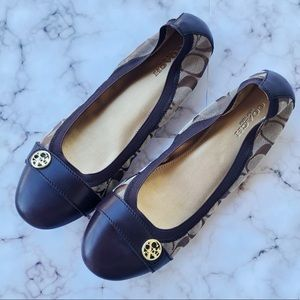 COACH Monogram Brown & Gold Iconic Flats Size 7.5